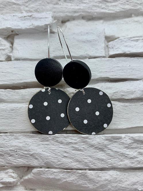 Black/White Polka Dot, Black, Double Wooden Round Hanging Earring