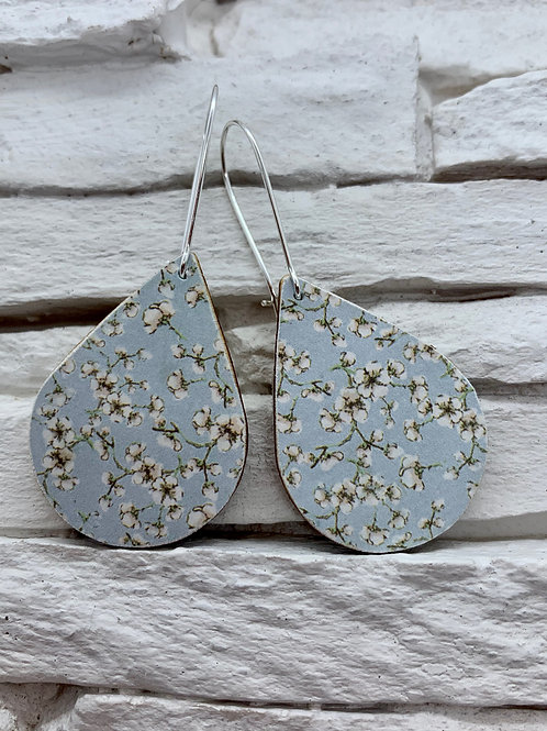 Blue/White Blossom, Wooden Drop, Hanging Earrings