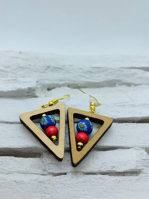 Wooden Triangle, Blue & Red Bead