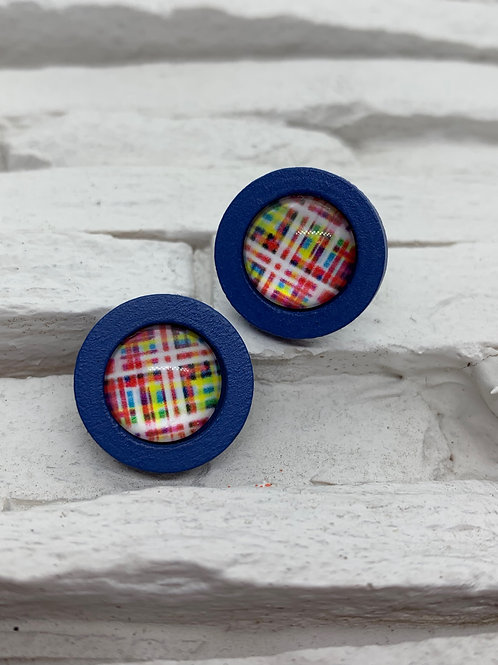 Blue Wooden, Red Check Stud, 18mm