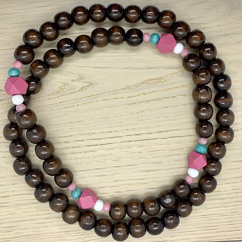 Dusty Pink/Teal/White, Coffee, Wooden Beaded Necklace
