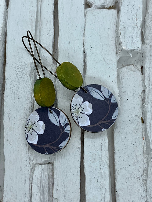 Navy Floral, Green/Brown, Double Wooden Round Hanging Earring