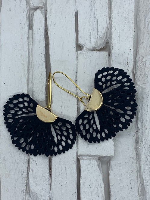 Black Frill Hanging Earrings