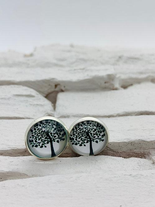 12mm Silver Stud Earrings, Black/White Tree Silhouette