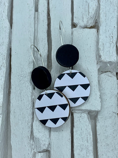 Black Triangle, Black, Double Wooden Round Hanging Earring