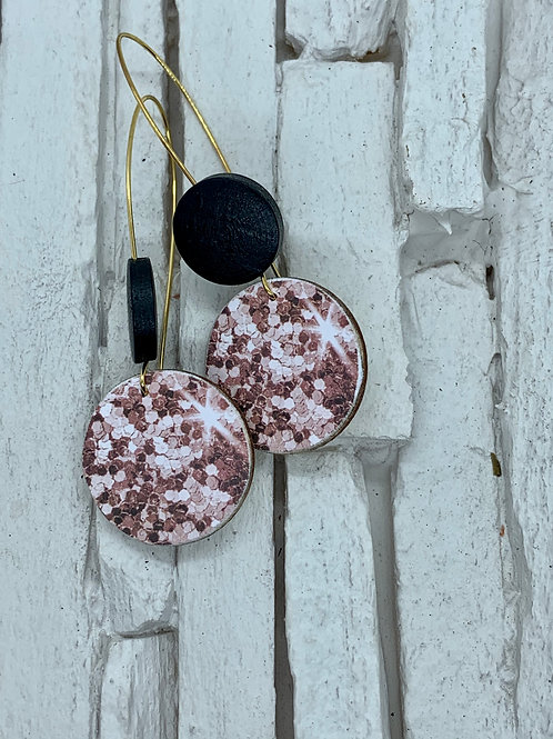 """Pink """"Glitter"""", Black, Double Wooden Round Hanging Earring"""