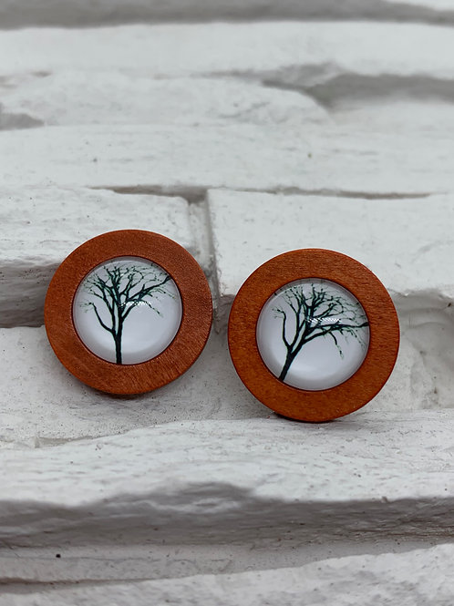 Red Wooden, White/Black Tall Tree Stud, 18mm