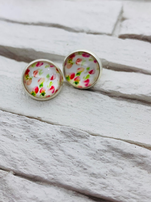 12mm Silver Stud Earrings, White/Pink Floral