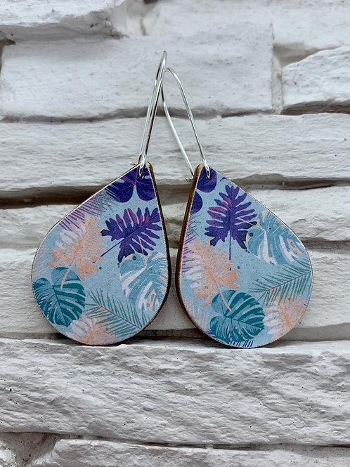 Tropical Leaf, Wooden Drop, Hanging Earrings