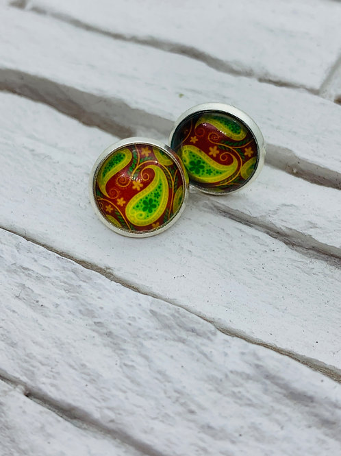 12mm Silver Stud Earrings, Yellow/Red/Green Paisley