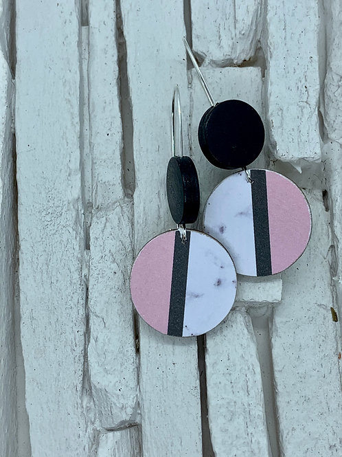 Pink Stripe, Black, Double Wooden Round Hanging Earring