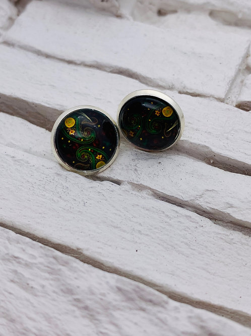 12mm Silver Stud Earrings, Midnight Swirl