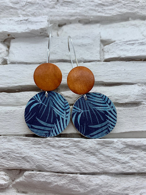 Blue/Teal/Aqua Fern, Saddle Brown, Double Wooden Round Hanging Earring