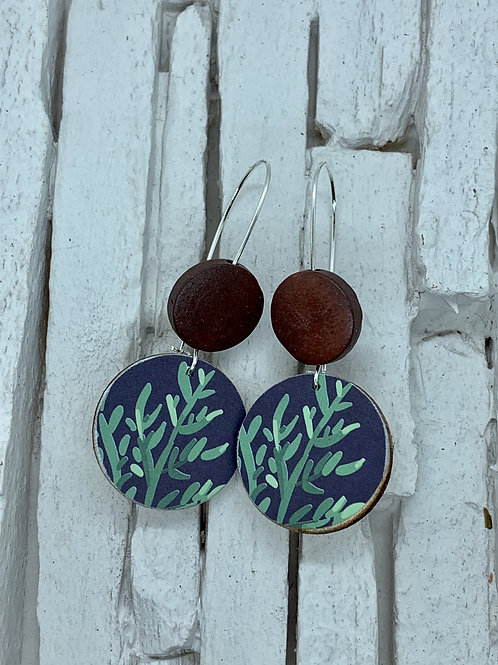 Coral, Brown, Double Wooden Round Hanging Earring