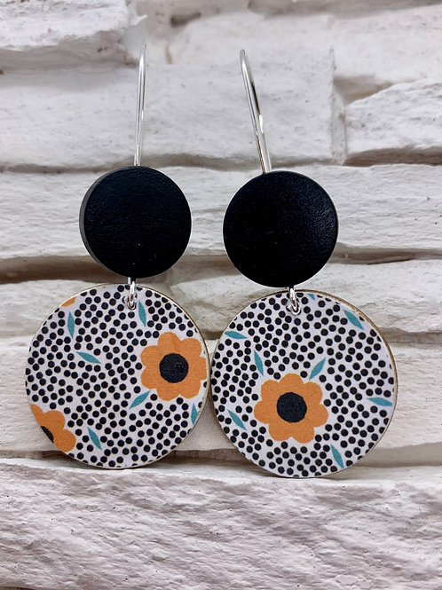 Orange Flower, Black/White Polka Dot, Black, Double Wooden Round Hanging Earring