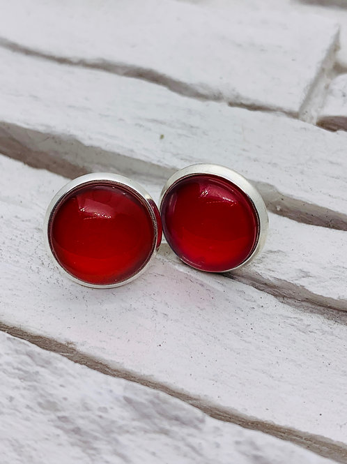 12mm Silver Stud Earrings, Solid Red