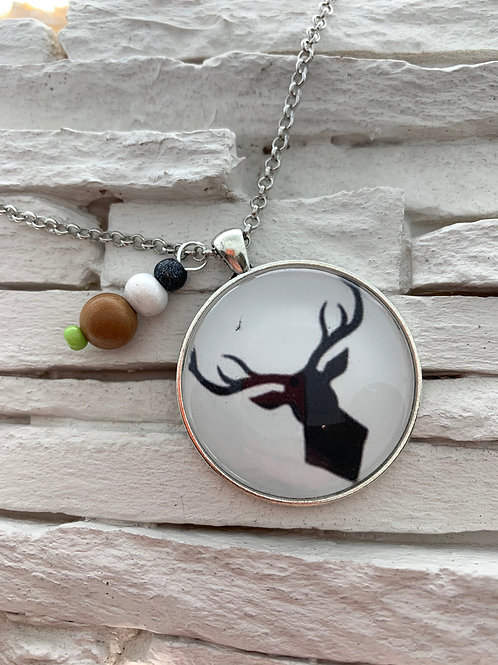 Black/White Deer Pendant Necklace