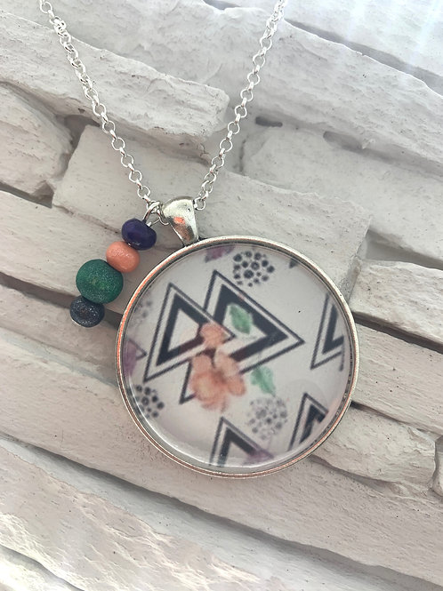 Floral Triangle Pendant Necklace