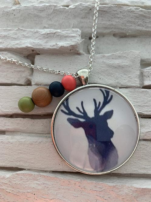 Navy Deer Pendant Necklace
