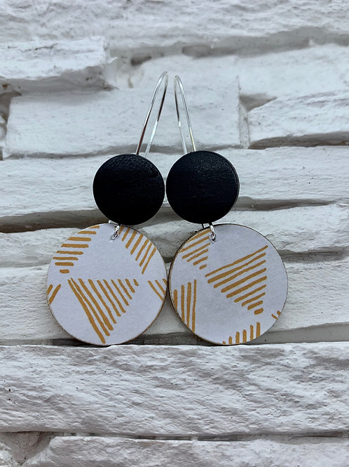 White/Mustard Yellow Triangle Stripe,Black, Double Wooden Round Hanging Earring