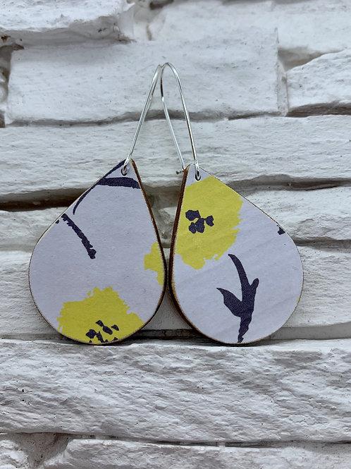White Yellow/Navy Flower,Wooden Drop, Hanging Earrings