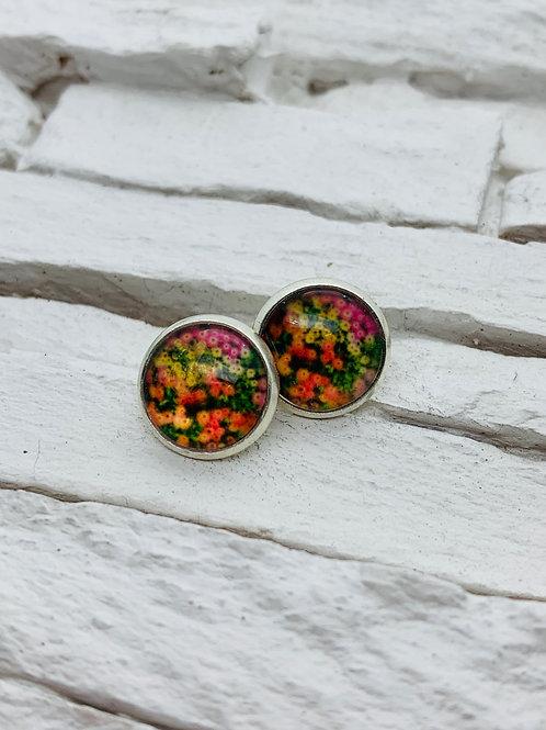 12mm Silver Stud Earrings, Multicolour Floral Field