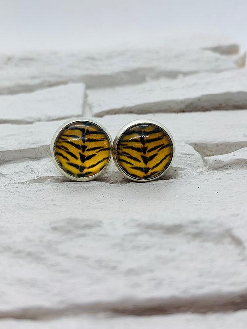 12mm Silver Stud Earrings Tiger Print