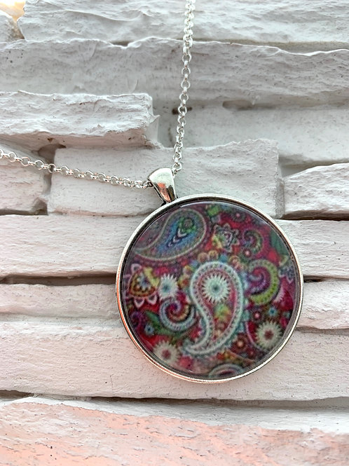 Red Paisley Pendant Necklace
