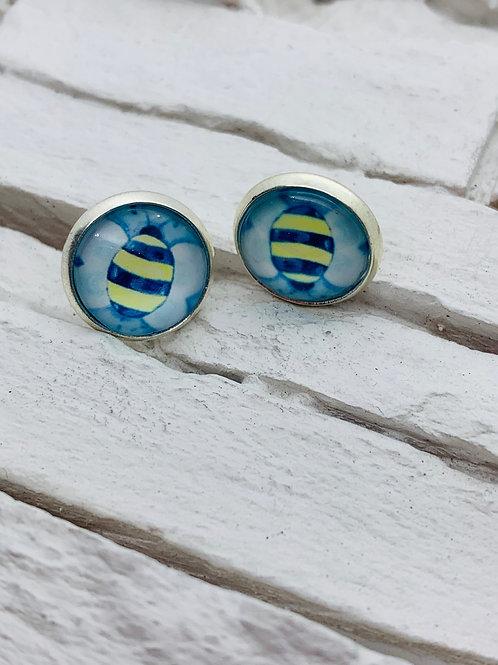 12mm Silver Stud Earrings, Blue Butterfly