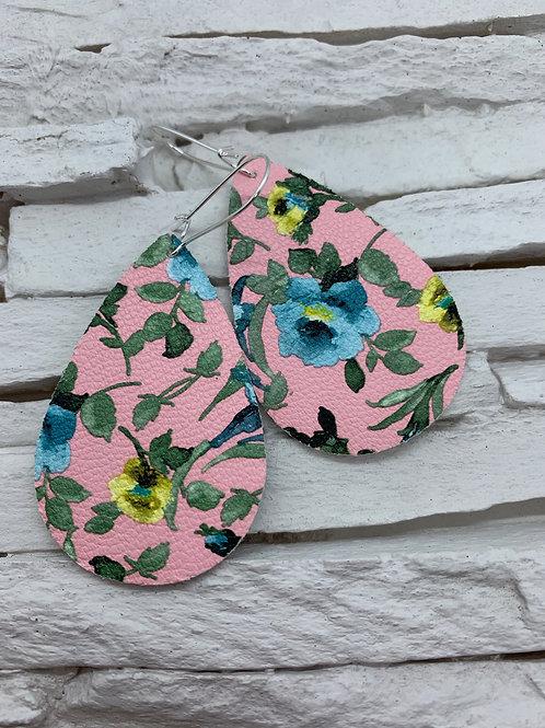 PU Leather Pendant Drop Pink Lake Blue Flower Drops