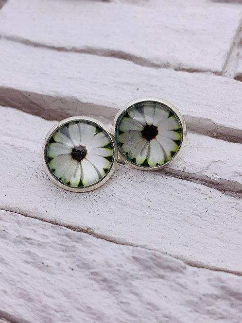 12mm Silver Stud Earrings, White Daisy