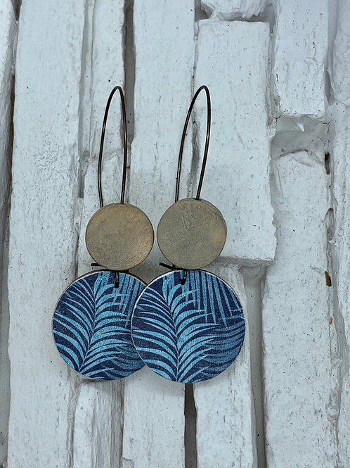 Blue/Teal Fern, Tan, Double Wooden Round Hanging Earring
