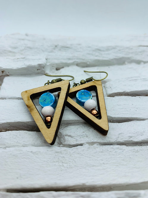 Wooden Triangle, Blue & White Beaded