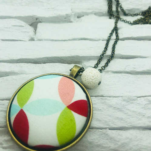 Multicolour Geometric Material, White Lava Bead Necklace