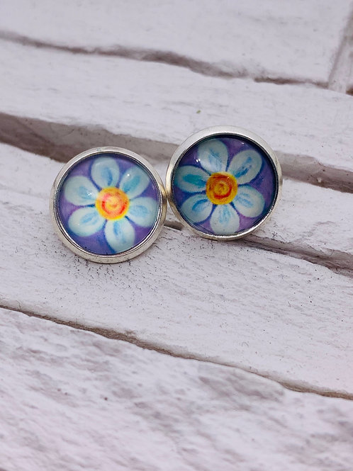 12mm Silver Stud Earrings Purple/Blue Daisy