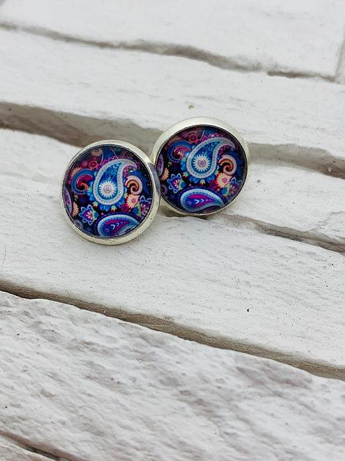 12mm Silver Stud Earrings, Blue/Purple, Paisley