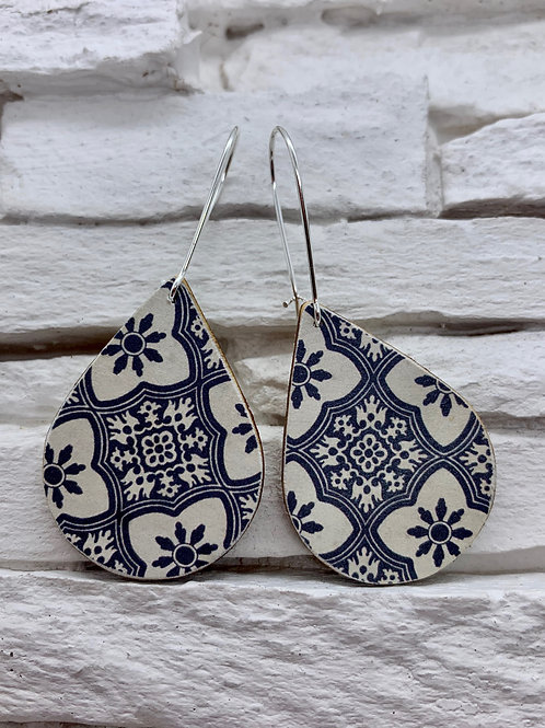 Navy Blue/Cream Floral Check, Wooden Drop, Hanging Earrings