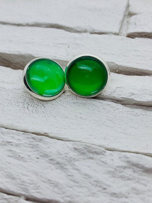 12mm Silver Stud Earrings, Solid Green