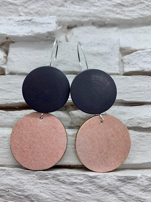 Pink, Grey, Double Wooden Round Hanging Earring