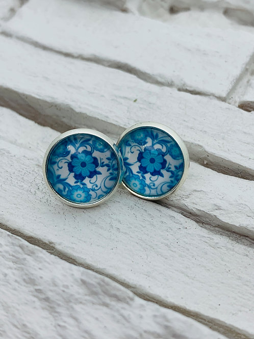 12mm Silver Stud Earrings, Blue Floral Swirl