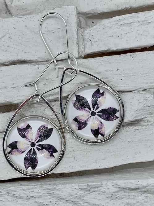 White/Purple Flower,Silver, Pendant Drop, Hanging Earrings
