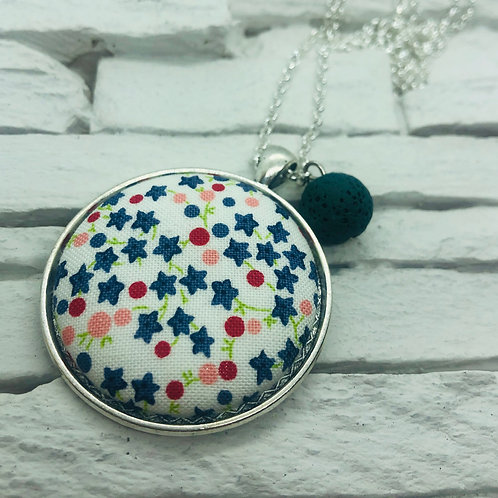 Star/Floral Material, Teal Lava Bead Necklace