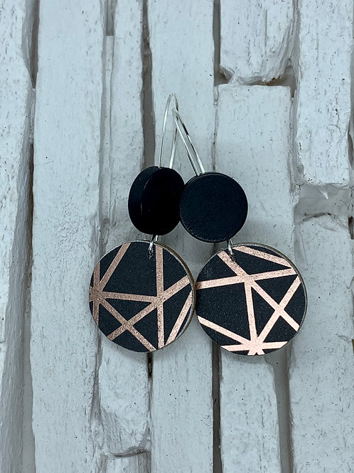Metallic, Black, Double Wooden Round Hanging Earring