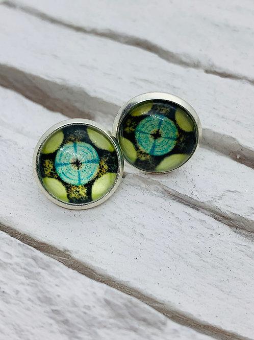12mm Silver Stud Earrings, Green Aztec