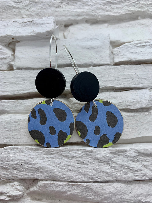Blue/Green Leopard Print, Black, Double Wooden Round Hanging Earring