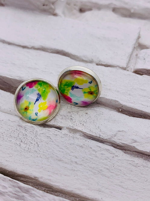 12mm Silver Stud Earrings, Bright Multicolour Floral