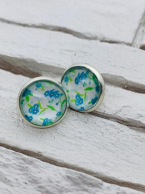 12mm Silver Stud Earrings, Light Blue Floral