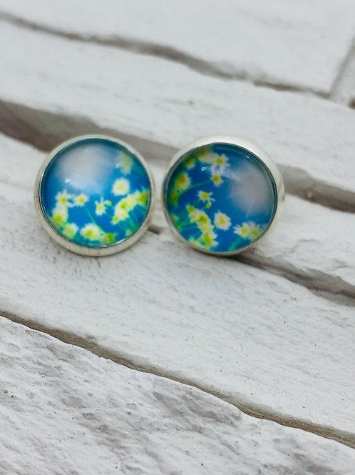 12mm Silver Stud Earrings, Daisy Sky