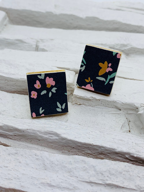 Navy Pink/Mustard Floral, Rectangle Wooden Stud