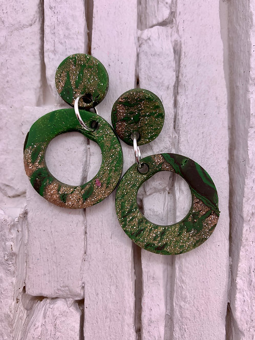 Camo, Glitter, Circle Clay Earrings